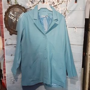 baby blue 100% leather women's jacket